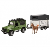 Land Rover Defender Model With Horse Trailer, Green TOADHT
